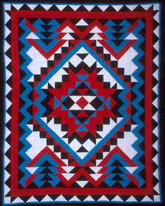 GLQC Collections - Navajo, Ruth and Vera Tyler Choctaw, Clifton, Louisiana Cotton/polyester with polyester filling 78 x Quilting Projects, Quilting Designs, Sewing Projects, Sewing Ideas, Star Quilts, Quilt Blocks, Southwestern Quilts, Southwest Style, Indian Quilt