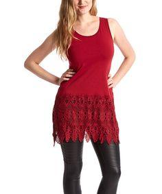 Another great find on #zulily! Burgundy Crochet-Hem Linen-Blend Tank - Women #zulilyfinds
