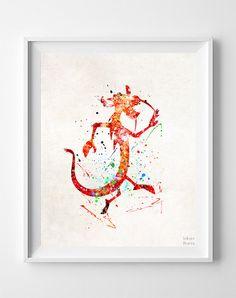 Mulan Print Mushu Watercolor Disney Poster Office by InkistPrints