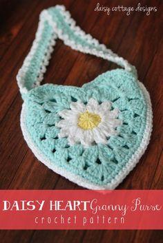 Adorable granny heart purse crochet pattern