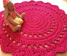 Handmade Crochet round rug,  fabric yarn Crochet  Carpet 74 cm, Babyrooms Round Rug, Bathroom Rug, Carpet, Cotton  Rug
