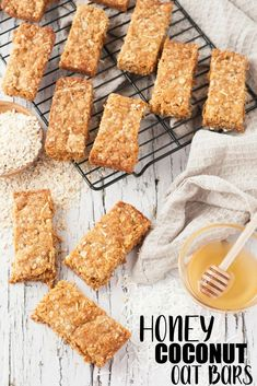 Whip up these delicious Honey Coconut Oat Bars in 30 minutes for an on-the-go summer snack They are also great for school lunches or a perfect grab and go snack for after school Recipe Homemade Oats Recipes, Smoothie Recipes, Cookie Recipes, Snack Recipes, Flour Recipes, Top Recipes, Oats Snacks, Lunch Snacks, Healthy Lunches