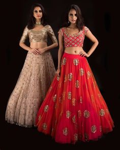 Beautiful red and ivory lehengas with blouses from Banjara By MrunaliniRao shop at carma india. 06 August 2017