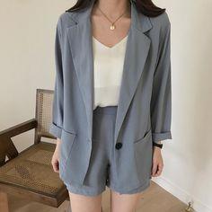 Buy Casual Summer Thin Shorts + Blazer 2 Piece Suit korean style Cheap Trendy Aesthetic Clothes and Blazer And Shorts, Blazer Outfits, Casual Blazer, Blazer Dress, Dress Outfits, Tumblr Outfits, Trendy Dresses, Women's Dresses, Suits Korean