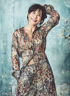 Mes Demoiselles... Paris • Sophie Marceau looks attractive in total look Mes Demoiselles... Paris • She is wearing our Tiffany Shirt and our Tracy Pants • LOVE • GRAZIA France • September 2016 #mesdemoiselles #press #publication #magazine #fallwinter #collection #FW16 #lurex #silk #floral #prints #look #mesdemoisellesparis
