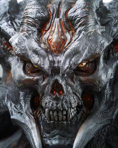 Fantasy Demon, Demon Art, Dark Fantasy Art, Skull Coloring Pages, Angry Animals, Dark Evil, Satanic Art, Evil Art, Monster Concept Art