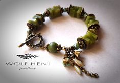 Good luck - Quadrate Green Jade Stones and Czech Glasbeads Bohemian Handmade Bracelet by WOLF HENI