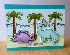Lawn Fawn Critters from the past and Birthday Tags. Baby Birthday Card, Kids Birthday Cards, Dinosaur Cards, Lawn Fawn Stamps, Paper Crafts Origami, Card Making Inspiration, Kids Cards, Creative Cards, Homemade Cards