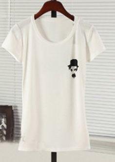 White CHARLIE CHARPIN Print Short Sleeve T-Shirt - Sheinside.com  From sheinside.com