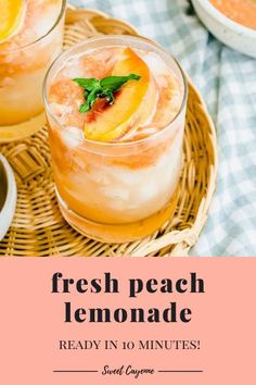 This easy and quick recipe for fresh peach lemonade features a peach puree swirled into freshly-squeezed lemonade. You can make it with fresh or frozen peaches! #easyrecipe #lemonade #easypeachlemonade #freshpeaches #lemonrecipes #summerrecipes Easy Drink Recipes, Lemon Recipes, Quick Recipes, Summer Recipes, My Recipes, Peach Lemonade Recipes, Easy Lemonade Recipe, Peach Puree