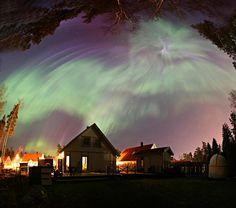 Auroras en el jardín (P-M Hedén, Vallentuna, Suecia)
