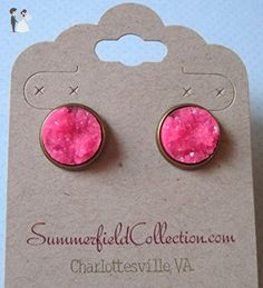 Antiqued Gold-tone Neon Pink Faux Druzy Stone Stud Earrings 12mm - Wedding earings (*Amazon Partner-Link)