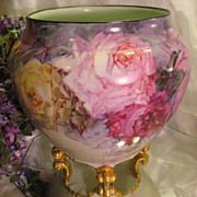 """""""BREATHTAKING ROSES"""" Massive and Rare Footed FRENCH JARDINIERE PLANTER POT Gorgeous Antique Limoges France Hand Painted Victorian Treasure C..."""