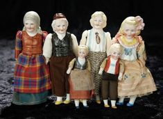Soirée: A Marquis Cataloged Auction of Antique Dolls and Automata - May 14, 2016: Lot 181. Six German Half Dolls with Sculpted Hair and Bodices by Hertwig