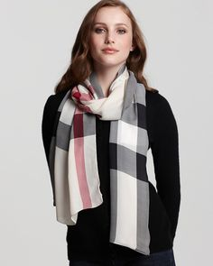 1c25b403e Core Creppone Check Oblong Scarf by Burberry Checked Scarf, Burberry Watch,  Burberry Scarf, · Checked ScarfBurberry WatchBurberry ScarfLight ScarvesSilk  ...
