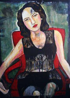 Interesting that strength is conveyed during somnolence - Sueno De La Actriz by Yolanda Gonzalez.  Acrylic on Canvas.