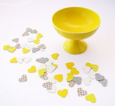 Yellow and gray confetti. Perfect for weddings! From paperklipdesign. #ThePerfectPalette