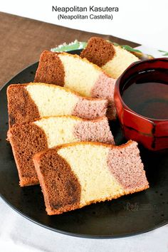Fabulous tri-colored Neapolitan Kasutera (Neapolitan Castella) with chocolate, honey, and strawberry flavored cakes baked in a single pan.   RotiNRice.com