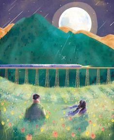 기차는 끝도 안 보이는 저 먼 길을 달려 그리웠던 가족에게로 향했고 난 그렇게 소리 소문 없이 네게 왔노라고 그날 밤, 난 달님에게 고했습니다.