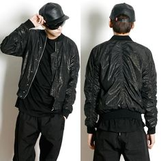 Remember Click Gold Thread Shirred Black Jacket BLACK ONE SIZE Korean Wear #RememberClick #FlightBomber