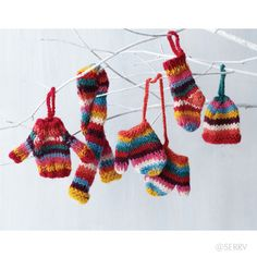 Striped Outerwear Ornament Set  The perfect winter wear for your holiday tree (or a favorite small doll or teddy bear), these tiny accessories are made from 100% wool remnants, hand dyed and knitted by women working from their homes to support their families. #Fairtrade www.serrv.org