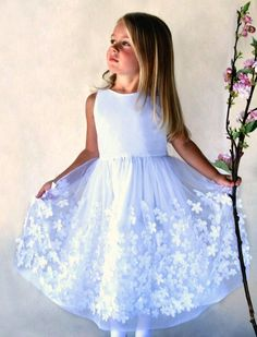 Flight of Fancy is a dream girls dress of fluttering flowers embroidered tulle over cotton voile girls dress. Elegant and playful flower girl dress, communion dress, birthday dress, and cotillion dress. A dress she will remember for a lifetime. Flower Girl Dresses Country, Girls Fancy Dresses, Girls Blue Dress, Girls Christmas Dresses, Pretty Dresses, Kid Dresses, Green Flower Girl Dresses, Wedding Flower Girl Dresses, Blue Dresses