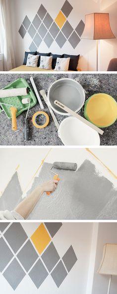 DIY tutorial: Paint an Accent Wall in Diamond Geometric Design  via en.DaWanda.com