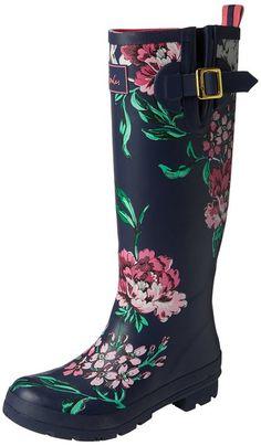 Women's Printed Rain Boot Wellies, French Navy Peony | Sole ...