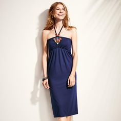 Add some international flavor with bright beads, and breeze your way through summer in this easy halter-style dress with elastic empire waist and beaded embroidery. The halter strap has two beads on each side that meet a cluster of beads embroidered at the center of the bust. Regularly $24.99, buy Avon Fashion products online at http://eseagren.avonrepresentative.com