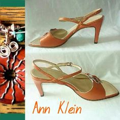 """Ann Klein Strappy Sandals SZ 7M DESCRIPTION: Orange leather sandals have ankle straps and double buckles on the vamp. Straight 3.5"""" leather covered heel.  SIZE: 7M is 10"""" Long and 3.5"""" at widest part.  CONDITION: VGUC with minor dings on one toe and both heels. Scuffed soles. Ann Klein Shoes Sandals"""