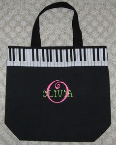 Personalized child's piano music book bag by RoseGardenEmbroidery, $19.75