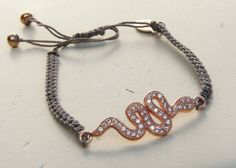 Rose Gold Snake Charm Bracelet by NokoDesigns on Etsy