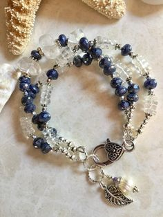 Jewelry Making Beads Triple strand mystic blue moonstone and crystal quartz bracelet - Jewelry Making Beads, Jewelry Bracelets, Beach Jewelry, Feet Jewelry, Blue Moonstone, Quartz Crystal, Silver Jewelry, Silver Ring, Jewelery