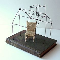A House with a Reading Chair Original Wire Mixed Media Altered Book...GatheredTogether on Etsy