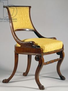 Restoration style (Charles X) mahogany chair, ca 1820, France, 19th century / Private Collection / De Agostini Picture Library / Al Pagani / Bridgeman Images