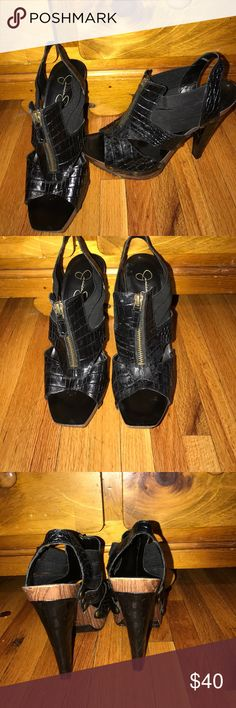 Jessica Simpson open toe pumps Black leather pumps. Wooden bottoms. Great condition  as seen in pictures. Stylish and sexy. Worn only once. Box kept. Accepting all reasonable offers Jessica Simpson Shoes Heels