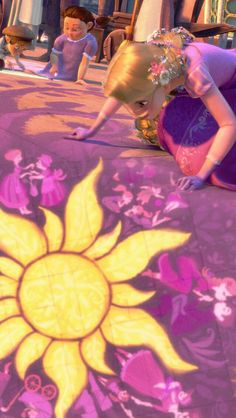 Rapunzel in the kingdom. I love this scene (but really, I love every scene in this movie)!