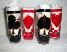 Made to Order  Painted Shot Glasses Handpainted Hearts, Spades,Diamonds, and Clubs Set of   4 /  1.4 oz.  Shooter Fathers Day Gift