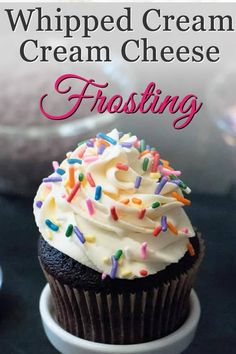 Whipped Cream Cream Cheese Frosting. A combo of two favorites, you'll use this creamy, not too sweet frosting and filling for much more than topping cakes.#nottoosweet #frosting #recipe #whippedcream #creamcheese
