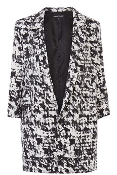 This monochrome blazer features an open front, cropped sleeves, two front pockets, long-line cut and all-over texture print. Length of jacket, from shoulder seam to hem, #SS15 #WarehouseSS15