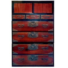 """Japan, Superb Antique Furniture Lacquered Tansu from """"Wakasa,"""" Cemtury Japanese Furniture, Asian Furniture, Art Furniture, Antique Furniture, Modern Furniture, Japanese Screen, Asian Garden, Asian Decor, Cabinet Styles"""