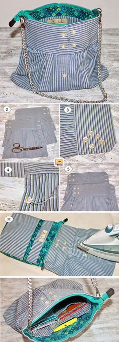 How to sew a Bag out of the sleeves of the shirt. Tutorial   http://www.free-tutorial.net/2017/01/bag-out-of-sleeves-of-shirt.html