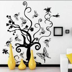Tree, Flowers and Butterflies Wall Sticker