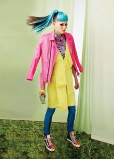 #Editorial #Model #MixMatch #Neon #Pink #Yellow #Blue #Hair #Sleek #Hotel #Sneakers #Outfit #Style #Fashion #BiographyInspiration