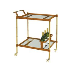 """Leather and Faux Bamboo Brass Bar Cart - Mecox Gardens Dimensions: 28""""W x 18""""D x 33""""H"""