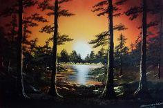 """Sunset Forest and Lake Reflection"" by Maciej Zamojski. Landscape on canvas board, Trees, Forest, Sunset, Lake, Reflection, Orange, Black. zamsprayart.wix.com/zamojskisprayart"