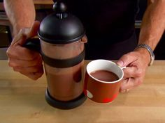 Cocoa Nib Hot Chocolate recipe from Alton Brown via Food Network Use coconut milk Brown Recipe, Cocoa Nibs, Pub, Alton Brown, Thing 1, Hot Chocolate Recipes, Chocolate Treats, Chocolate Cake, Yummy Drinks
