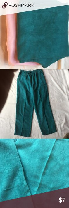 Teal suede type polyester pants Super soft polyester pants feel like suede. Lovely dark teal color.  EUC size 12petite by Salon Studio. Last photo features a similar pink pair also available in my closet. Salon Studio Pants