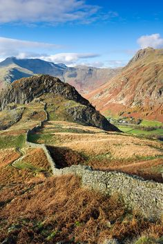 Drystone wall winding across mountain ridge overlooking Great Langdale, Lake District National Park, Cumbria, England, UK. Cumbria, Lake District, Dry Stone, British Countryside, Travel Images, Beautiful Landscapes, Wonders Of The World, Places To See, Landscape Photography
