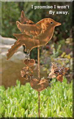 Bird / Garden Plant Stake / Lawn Ornament / Handmade / Copper / Metal Yard Art / Silhouette / Bird Art / Home Decor / Outdoor Patio Spike. $47.95, via Etsy.